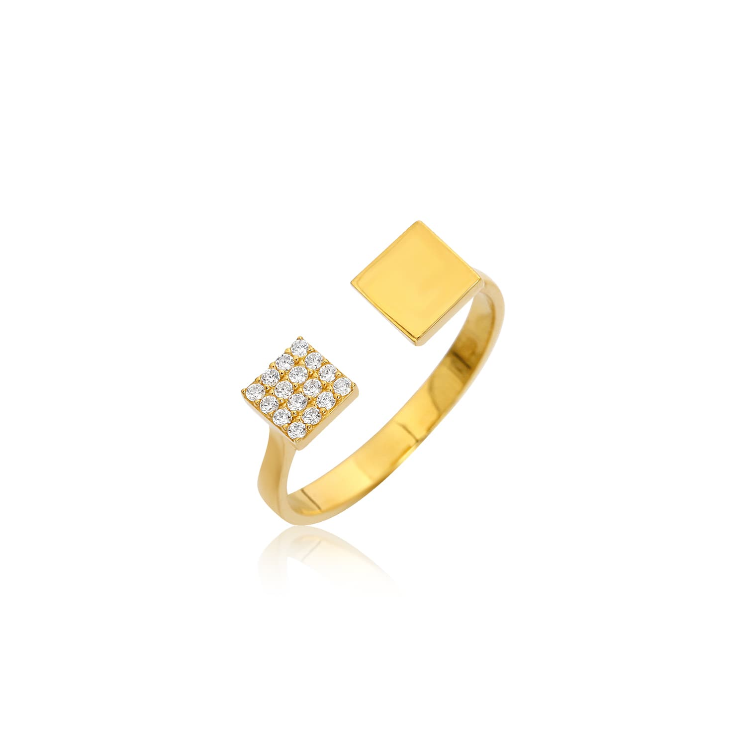Open top ring with gold plated stone on silver