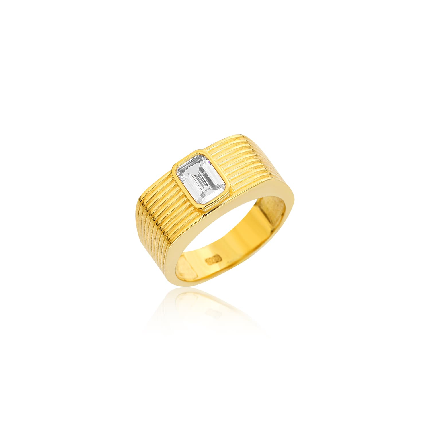 24 carat gold plated stone ring on silver