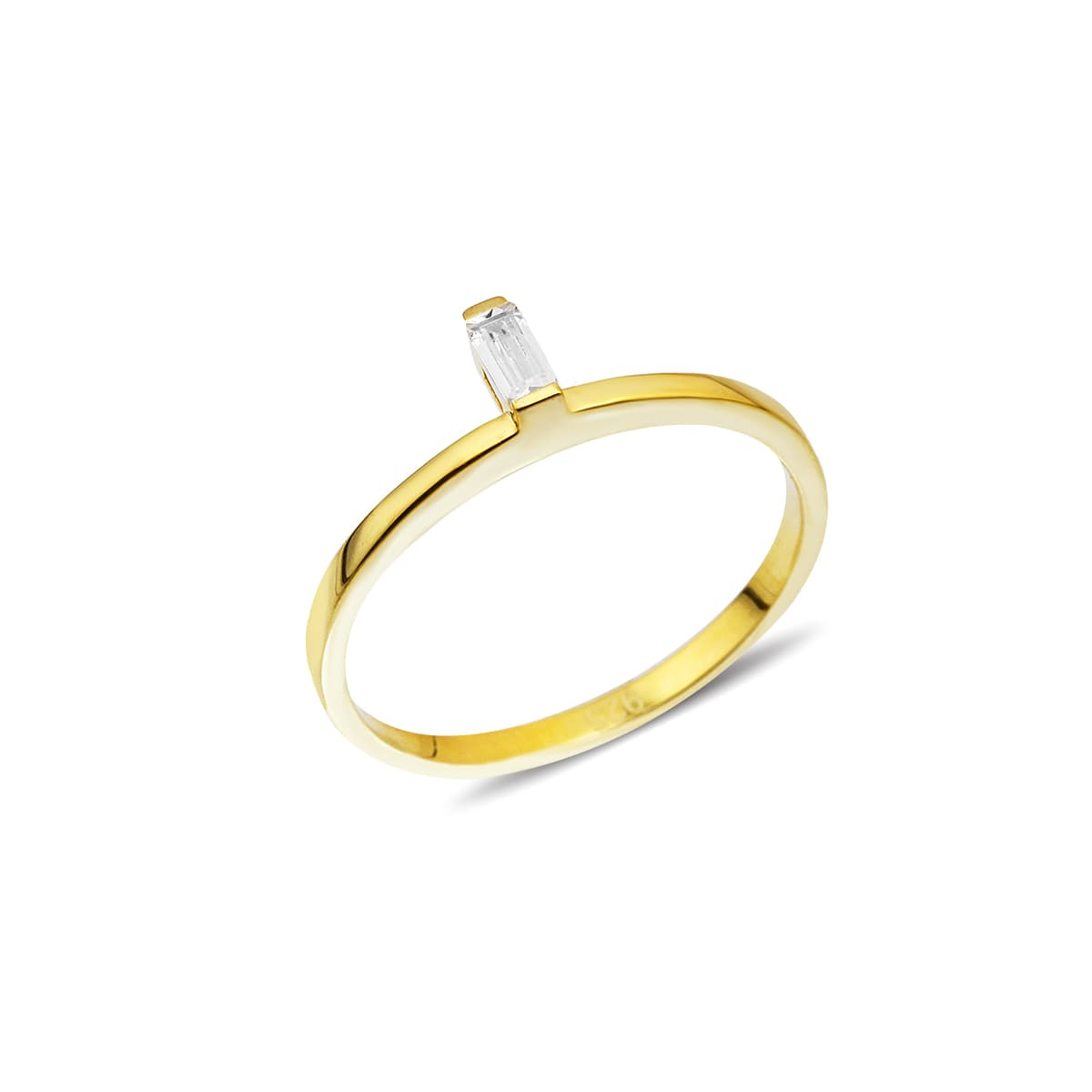 Gold plated zircon stone ring on silver
