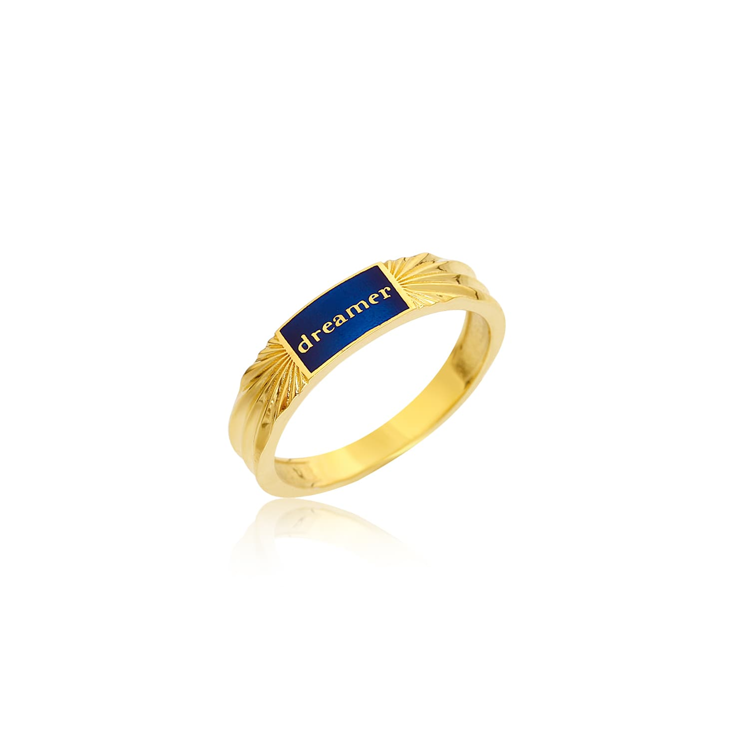 Navy blue enamel ring with gold plated dreamer writing on silver
