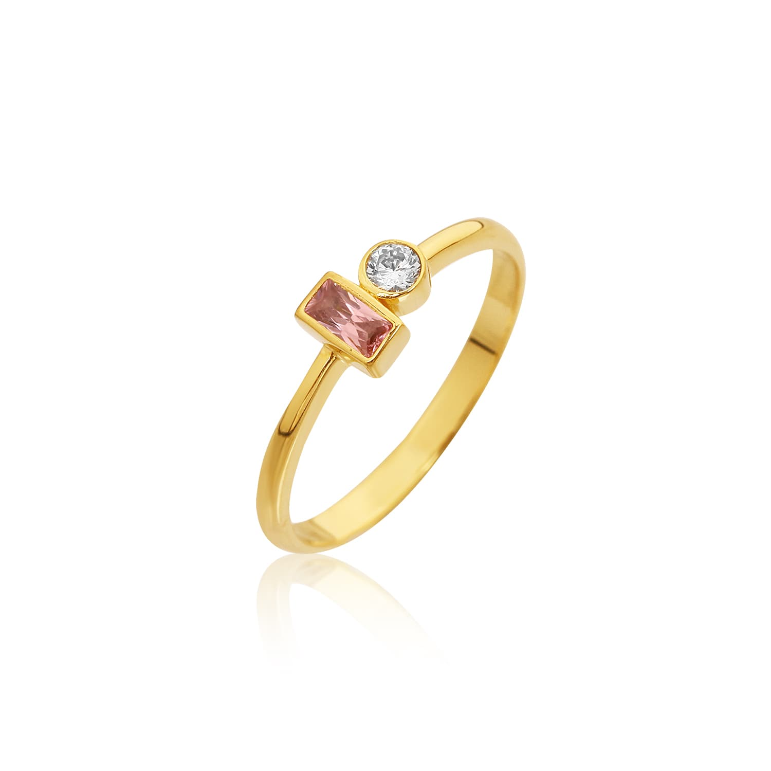 Kifo Colored Stone Ring - Pink