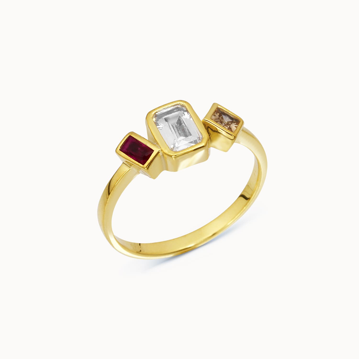 gold plated colored stone ring
