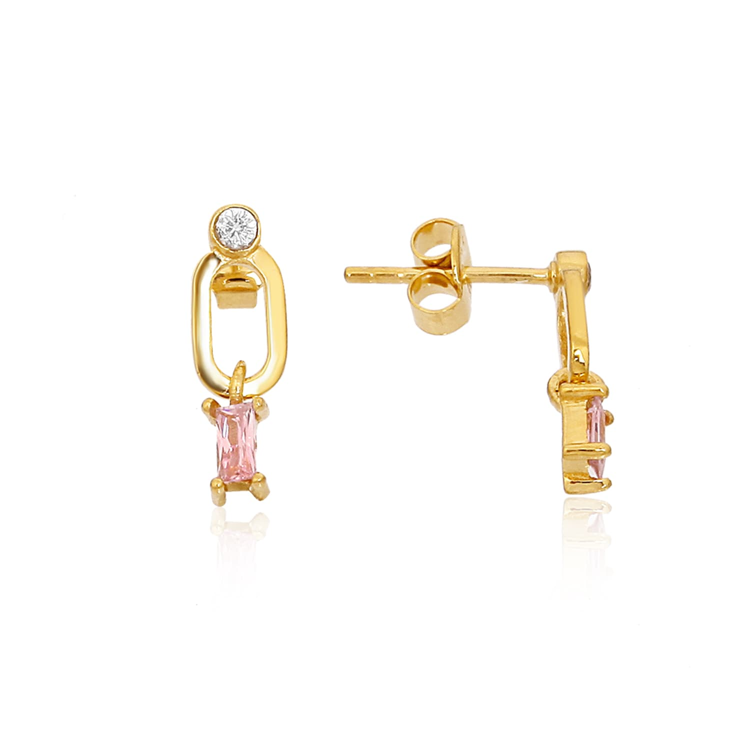 Dangle Gold Plated Earrings - Hamy Pink