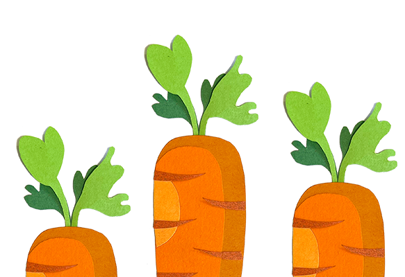 carrots sticking out the ground