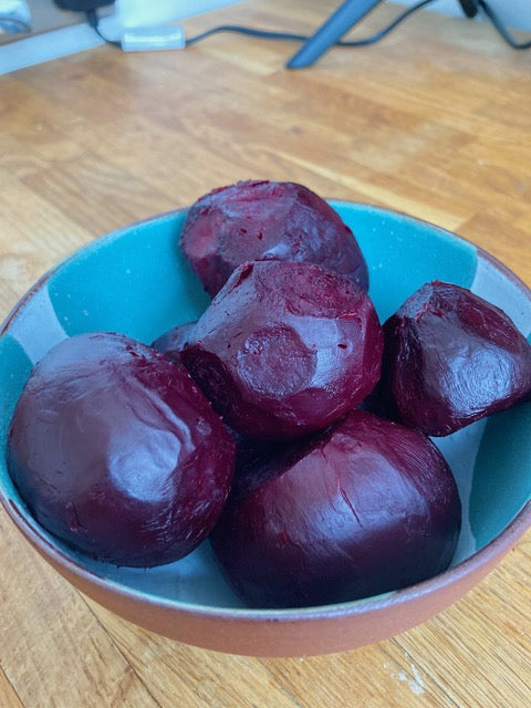 Fresh organic beetroots from pale green dot farms