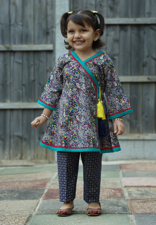 Navy Blue - Printed kurti with trouser