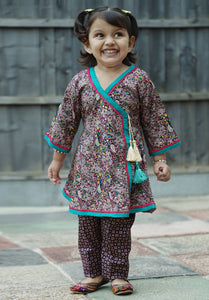 Cocoa Brown - Printed kurti with trouser