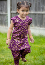 Load image into Gallery viewer, Purple & Gold – Printed kameez with Samosa Salwar