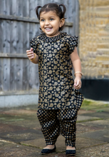Load image into Gallery viewer, Black & Gold Printed kameez with Samosa Salwar