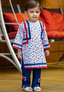 Navy Blue & Red - Printed kurta with trouser