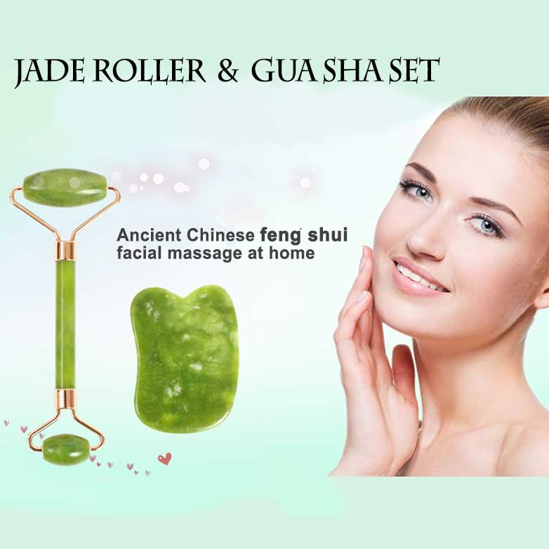 Hand-Made Jade Facial Roller with Gua Sha Board