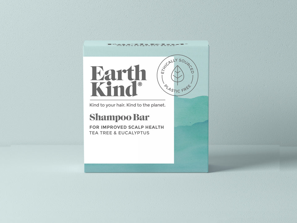 EarthKind Tea Tree & Eucalyptus Shampoo Bar for Improved Scalp Health. Be Kind to your hair. Kind to the planet.