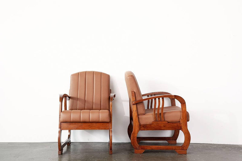Art Deco Armchairs (Brown)