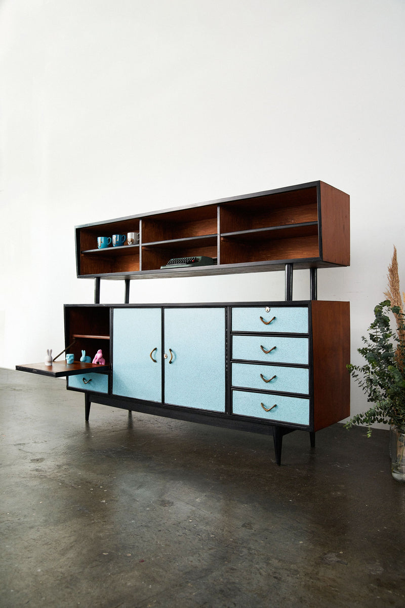[SOLD] Blue Retro Display Shelf Cabinet