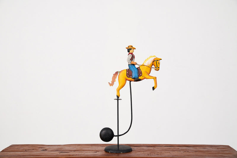 Vintage Pendulum Balance Toy - Cowboy with Tan Horse - Journey East