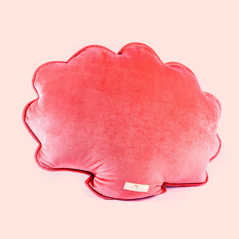 Big Velvet Shell Cushion - Coral