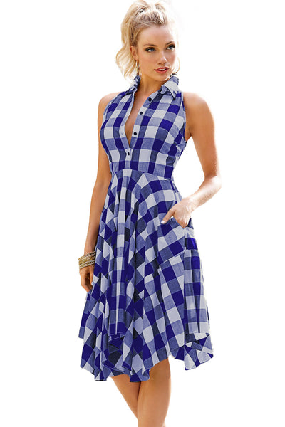 Blue and White  Denim Checks Flared Shirtdress