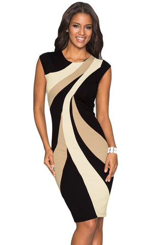 New Taupe Accents Colorblock Dress