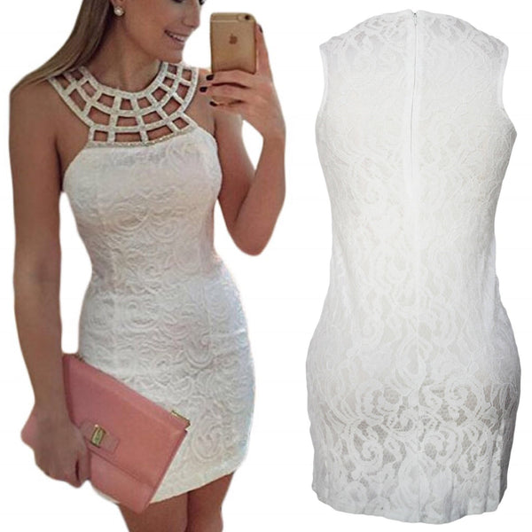 Caged Round Neck White Lace Mini Dress