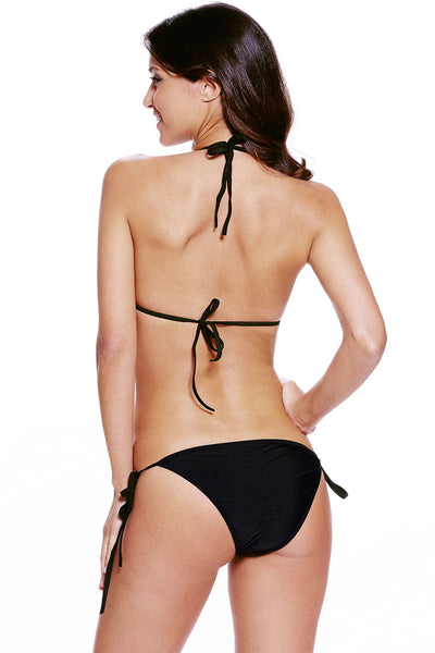Black Caged Cutout Nude Illusion Bikini Swimsuit