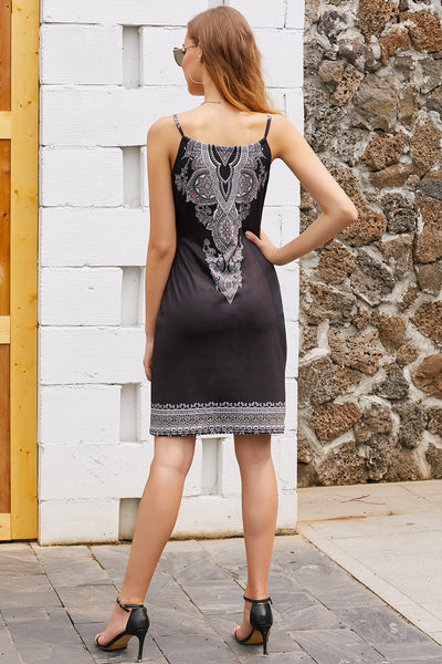 CG Sexy Black Bohemian Print Keyhole Front Dress