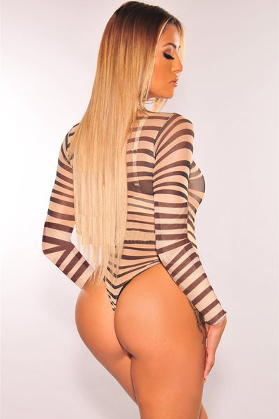 Nude Black  Swirl Illusion Bodysuit