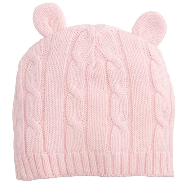 Pink Cable Knit Hat With Ears