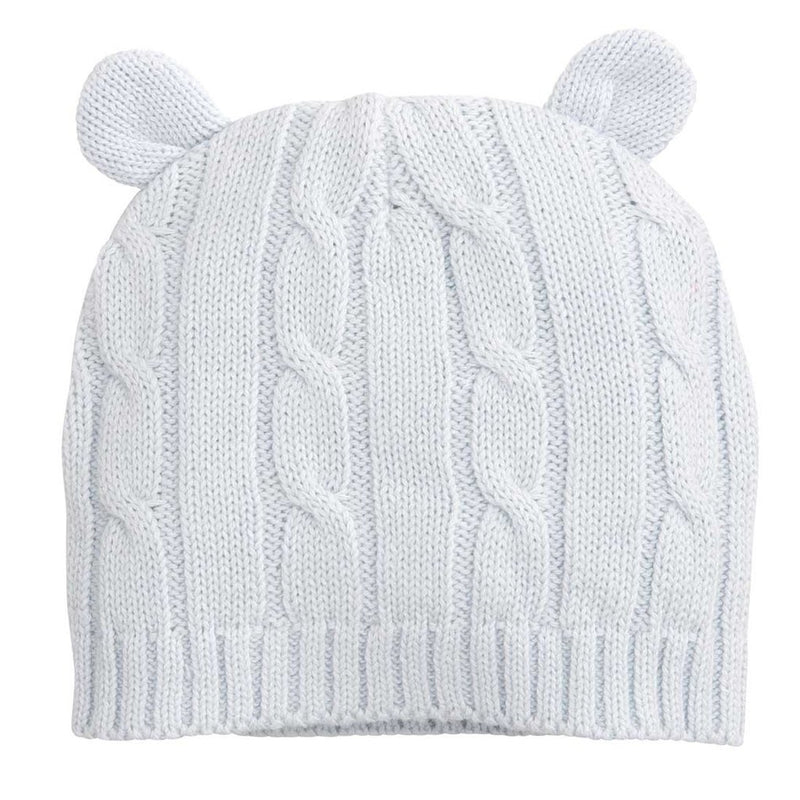 Blue Cable Knit Hat With Ears