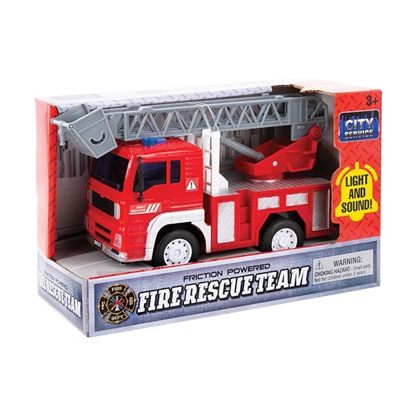 Fire Truck with Light and Sound- Friction Powered