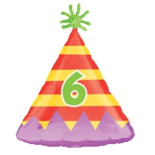"18"" Number 6 Party Hat Balloon"
