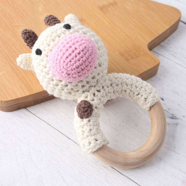 Cow Rattle and Paci Set