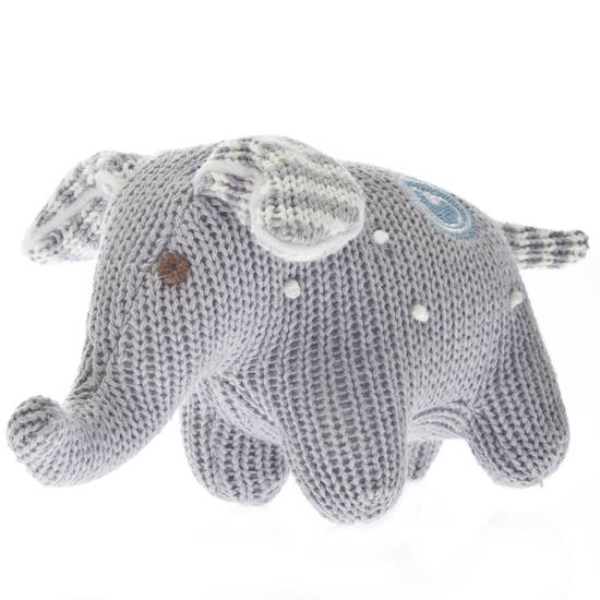 Grey Knit Polka Dot Elephant Rattle