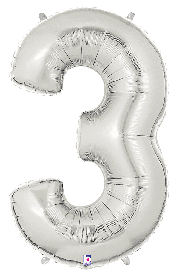 "40"" Number 3 Silver Balloon"