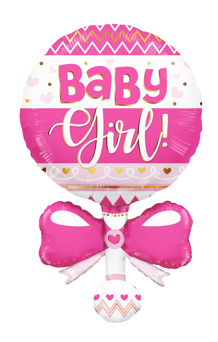 "36"" Baby Girl Rattle Balloon"