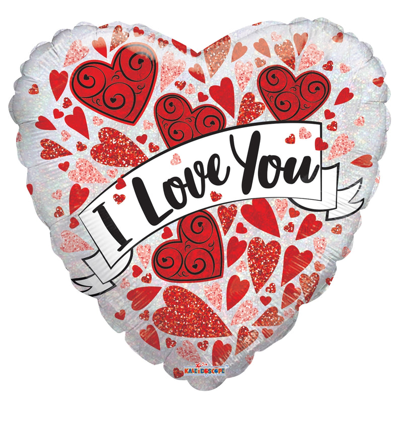 "18"" I Love You Banner Holographic Balloon"