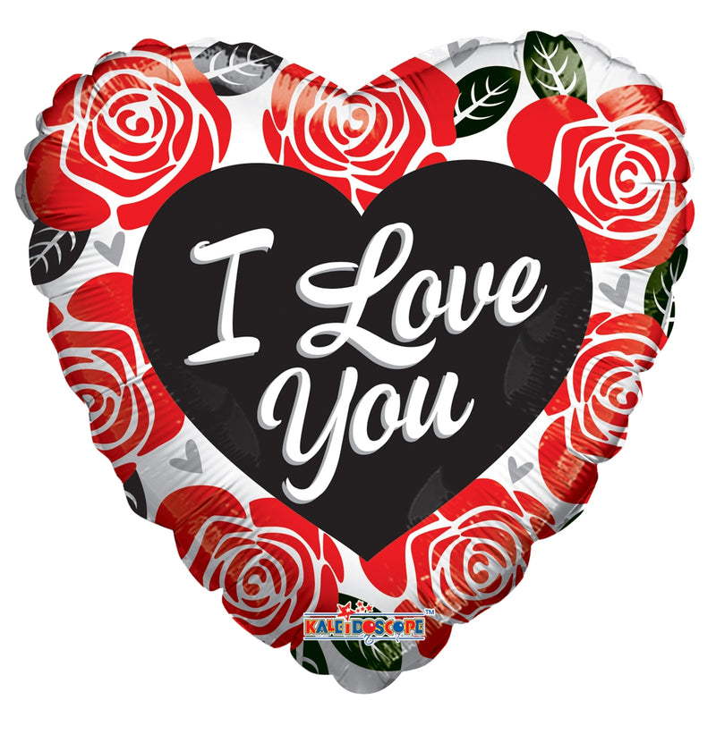 "18"" I Love You Red & Black Roses Heart Balloon"