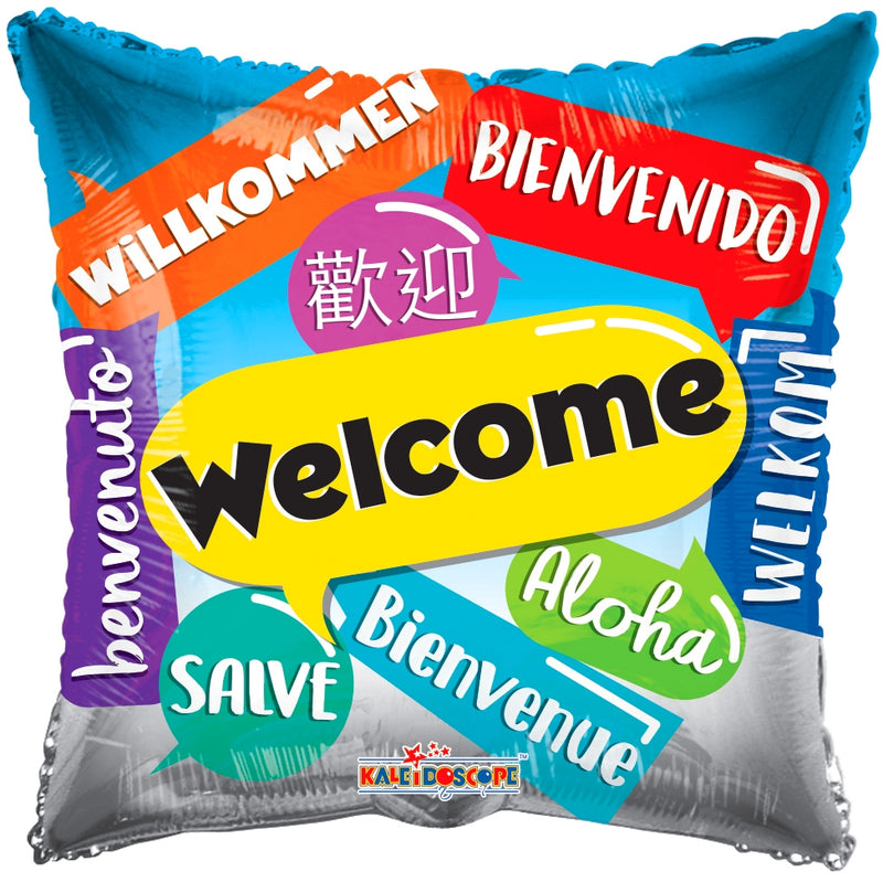 "18"" Welcome Languages Square Balloon"