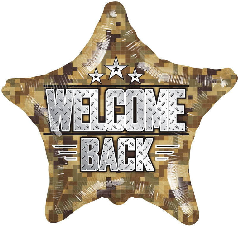 "18"" Welcome Back Camouflage Star Balloon"