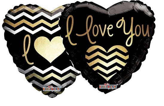 "18"" I Love You Gold & Black Chevron Balloon"