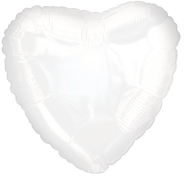 "18""  White Heart Balloon"