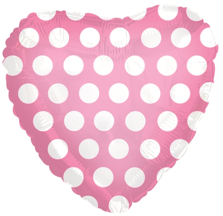 "18"" Pink & White Polka Dots Heart Balloon"
