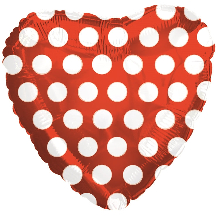 "18"" Red & White Polka Dot Heart Balloon"