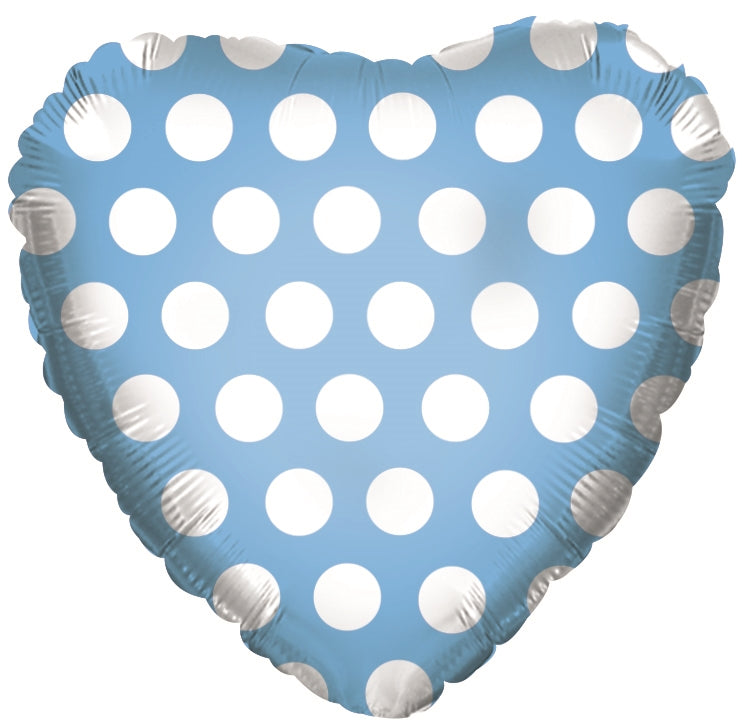 "18"" Powder Blue & White Polka Dot Heart Balloon"