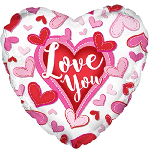 "18"" Love You Stitched Heart Balloon"