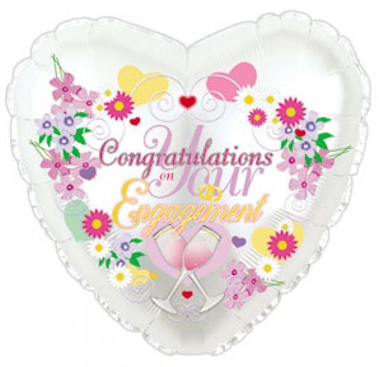 "18"" Congratulations On Your Engagement Heart Balloon"