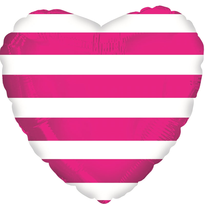 "18"" Hot Pink Stripes Heart Balloon"
