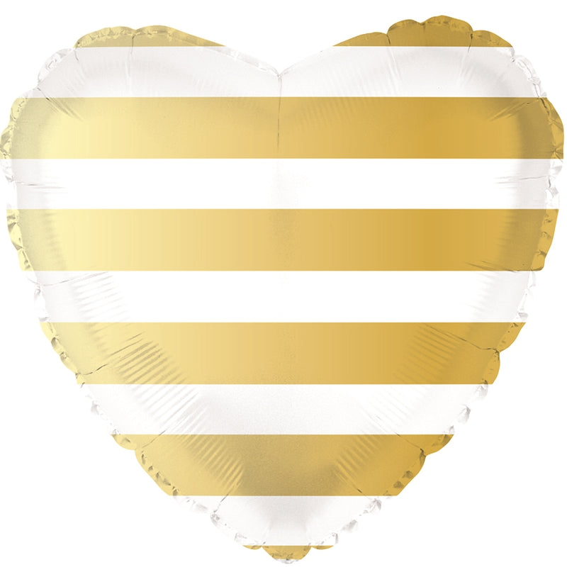 "18"" Gold Striped Heart Balloon"