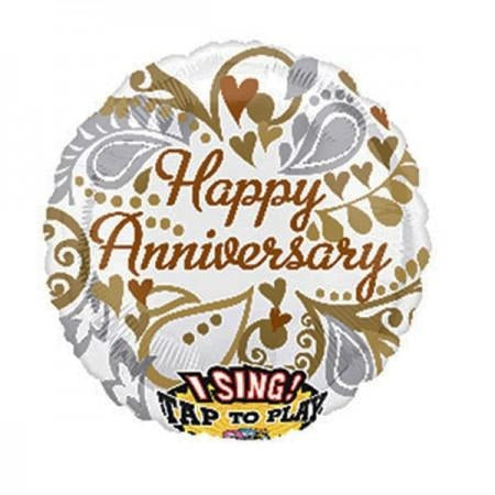 "28"" Jumbo Happy Anniversary Sing-A-Tune Silver & Gold Bubble Balloon"