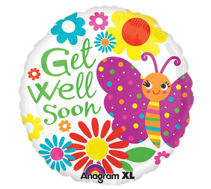 "21"" Get Well Soon Cute Butterfly Balloon"