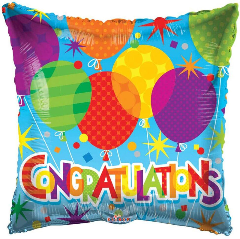 "18"" Congratulations Patterned Square Balloon"